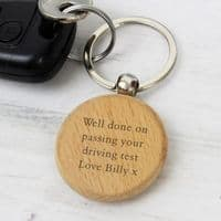 Personalised Wooden Keyring - Ideal gift for passing a driving test, Mother's Day, Father's Day, Valentine's Day, Christmas and birthdays.